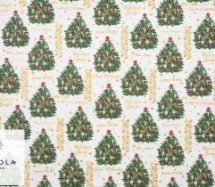 Tkanina bawełniana - Choinki Merry Christmas