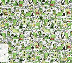 Dzianina Dresówka Pętelka - Świąteczne Dinozaury