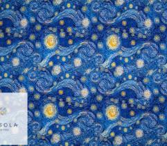 Dzianina Dresówka Pętelka - Gwieździsta Noc Van Gogh