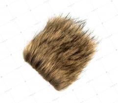 Sztuczne Futro włos 60/90 mm Jasny Beż z Czarnym 10x10 cm