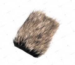 Sztuczne Futro włos 60/90 mm Czarne z Beżowym 10x10 cm