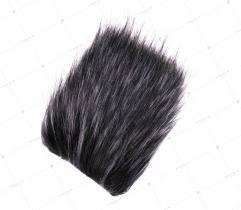 Sztuczne Futro włos 50/90 mm Czarne z Szarym 10x10 cm