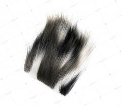 Sztuczne Futro włos 60/90 mm Czarno-Biało-Szare 10x10 cm