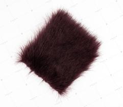 Sztuczne Futro włos 25/37 mm Ciemne Bordowe 10x10 cm