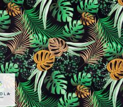 Tkanina bawełniana - Pomarańczowa Monstera