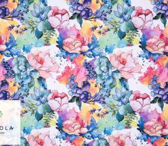 Tkanina Panama Poliester - Malowane Kwiaty