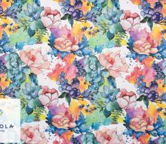 Tkanina Lotos 260 g - Malowane Kwiaty