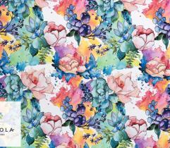 Tkanina Silki - Malowane Kwiaty