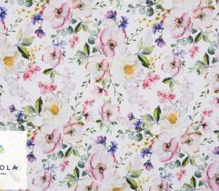 Tkanina Silki - Kolorowe Kwiaty Jabłoni
