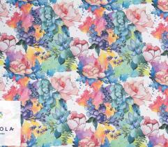 Tkanina Szyfon - Malowane Kwiaty