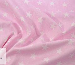 Bawełna pościelowa różowa w gwiazdki