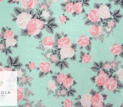 Jersey single drukowany różyczki seledynowe