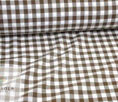 Tkanina bawełna biało brązowa krata