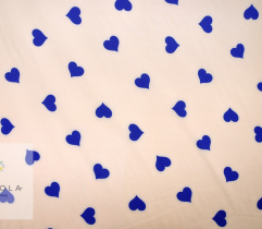 Woven Silki - royal blue hearts