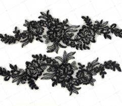 Aplikacja czarne kwiaty eleganckie