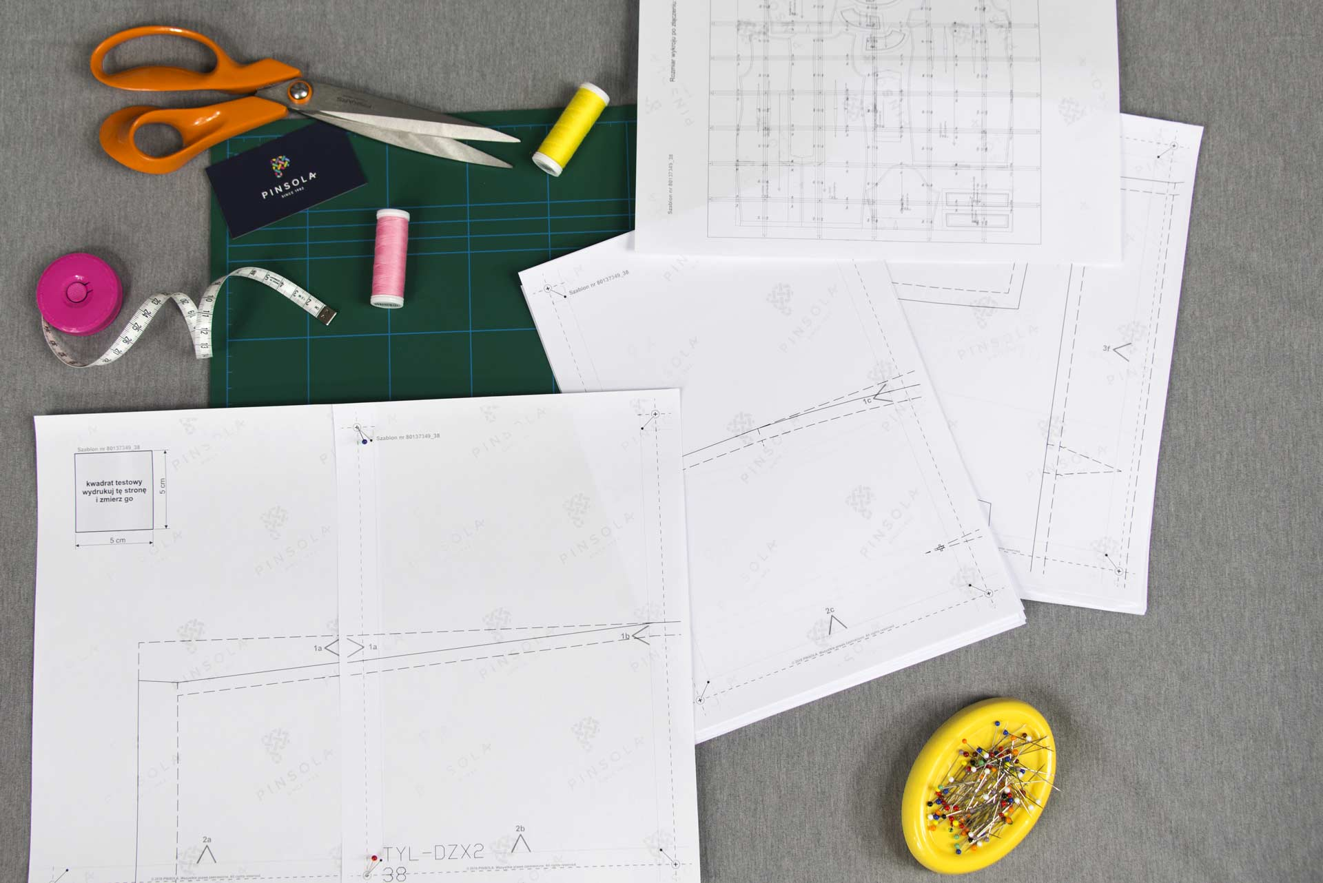 Sewing patterns - Pictures of exemplary tailoring pattern print-outs during the fitting.